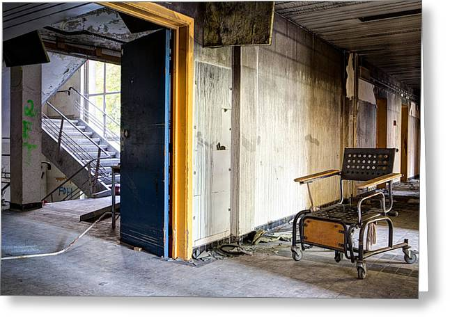 Old Home Place Greeting Cards - Home Sweet Home Forgotten Wheelchair Abandoned Nursing Home  Greeting Card by Dirk Ercken