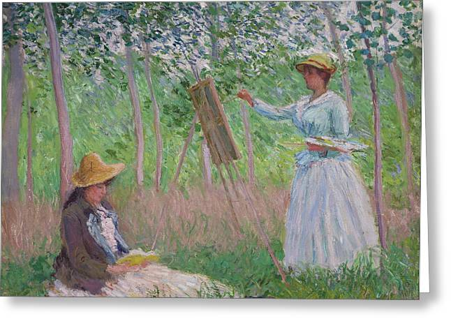 Sit-ins Greeting Cards - In the Woods at Giverny Greeting Card by Claude Monet