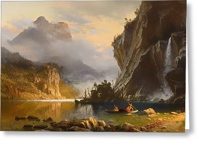 Canoe Waterfall Greeting Cards - Indians Spear Fishing Greeting Card by Albert Bierstadt
