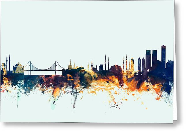 Istanbul Greeting Cards - Istanbul Turkey Skyline Greeting Card by Michael Tompsett