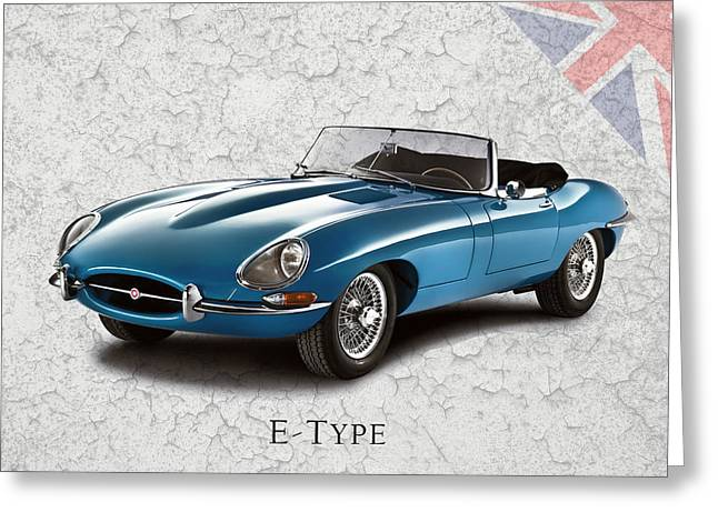E Type Greeting Cards - Jaguar E-Type Greeting Card by Mark Rogan