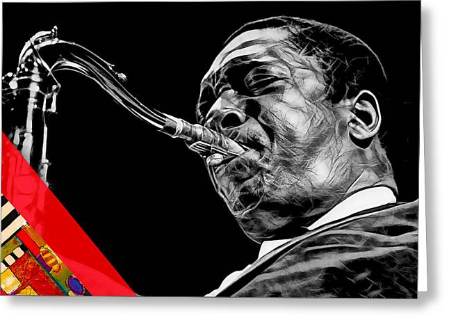John Coltrane Collection Greeting Card by Marvin Blaine