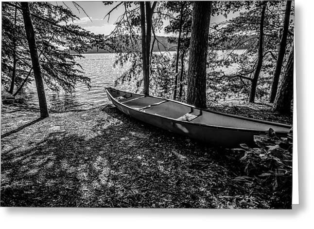 Reflections In River Greeting Cards - Kayak By The Water Greeting Card by Alexandr Grichenko