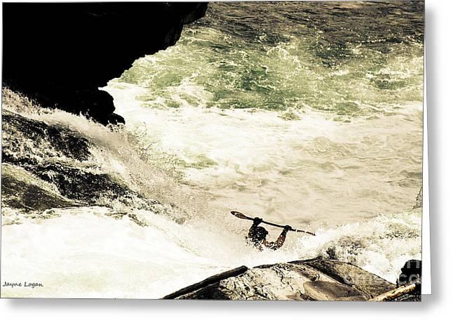 Alberta Greeting Cards Greeting Cards - Kayak Mountain Waters Greeting Card by Jayne Logan Intveld