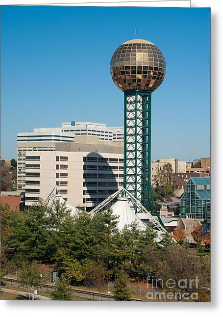 Office Space Greeting Cards - Knoxville - Tennessee skyline with the Sunsphere Greeting Card by Anthony Totah