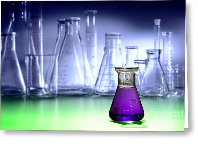 Experiment Photographs Greeting Cards - Laboratory Equipment in Science Research Lab Greeting Card by Olivier Le Queinec