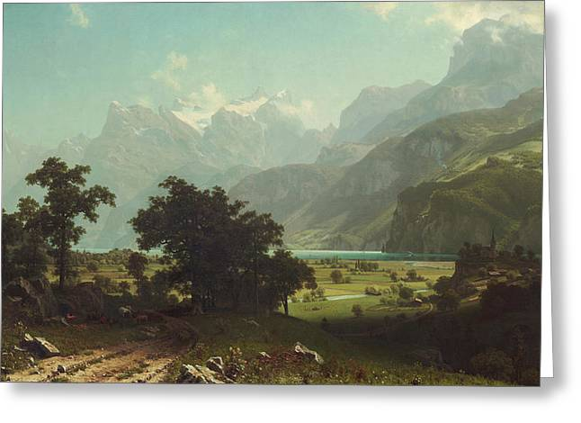 Landscape Painter Greeting Cards - Lake Lucerne Greeting Card by Albert Bierstadt