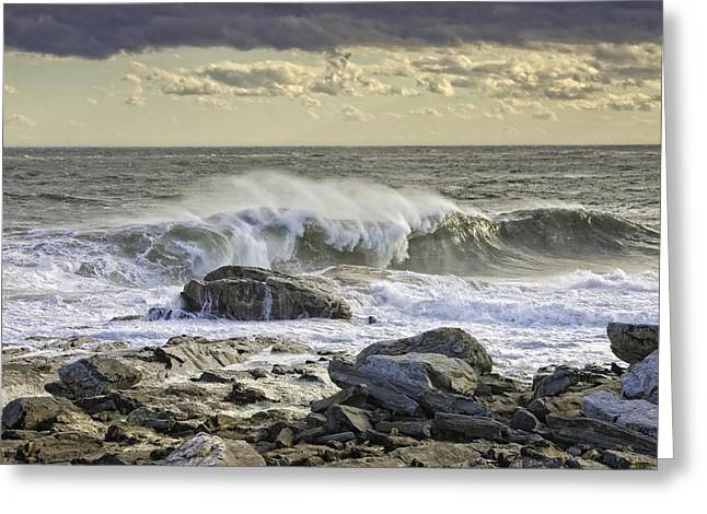 Coastal Maine Greeting Cards - Large Waves Near Pemaquid Point On The Coast Of Maine Greeting Card by Keith Webber Jr