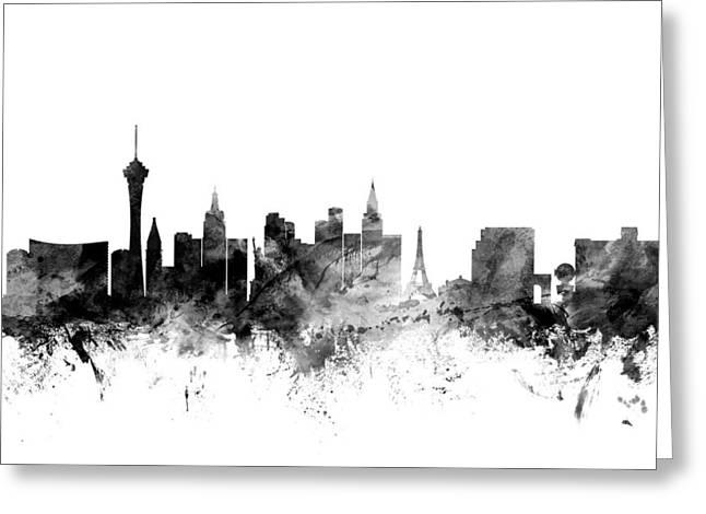 Las Vegas Digital Greeting Cards - Las Vegas Nevada Skyline Greeting Card by Michael Tompsett