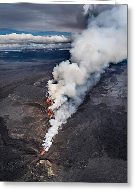 Natural Disaster Greeting Cards - Lava And Plumes From The Holuhraun Greeting Card by Panoramic Images