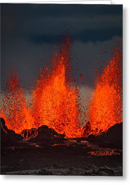 Lava Fountains At The Holuhraun Fissure Greeting Card by Panoramic Images