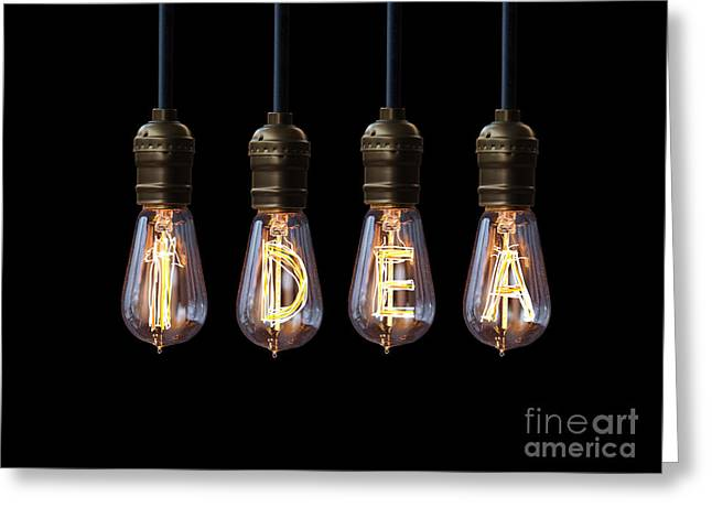 Antique Digital Greeting Cards - Light Bulb Background Greeting Card by Setsiri Silapasuwanchai