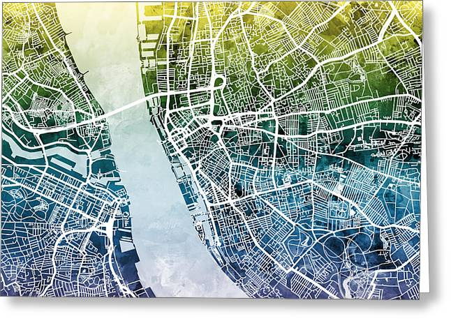 Abstract Map Greeting Cards - Liverpool England Street Map Greeting Card by Michael Tompsett