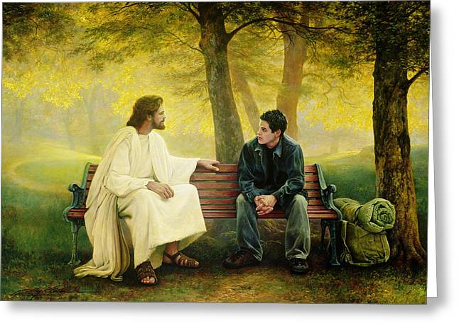 Park Benches Paintings Greeting Cards - Lost and Found Greeting Card by Greg Olsen