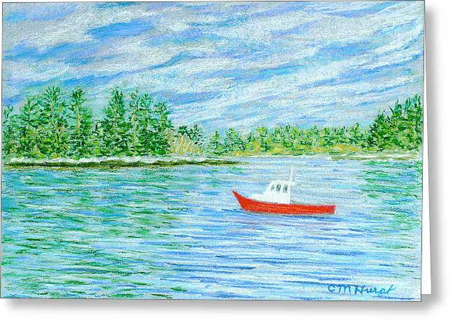 Maine Pastels Greeting Cards - Maine Lobster Boat Greeting Card by Collette Hurst