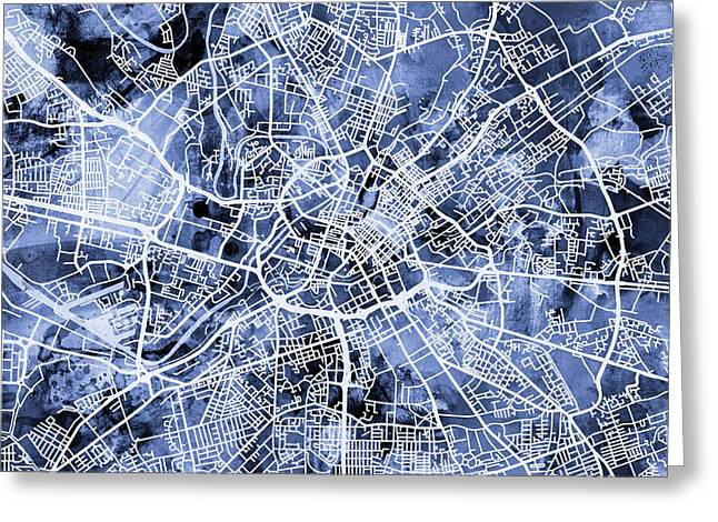 Abstract Map Greeting Cards - Manchester England Street Map Greeting Card by Michael Tompsett