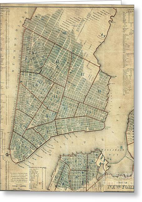 Manhattan New York Antique Vintage City Map Greeting Card by ELITE IMAGE photography By Chad McDermott