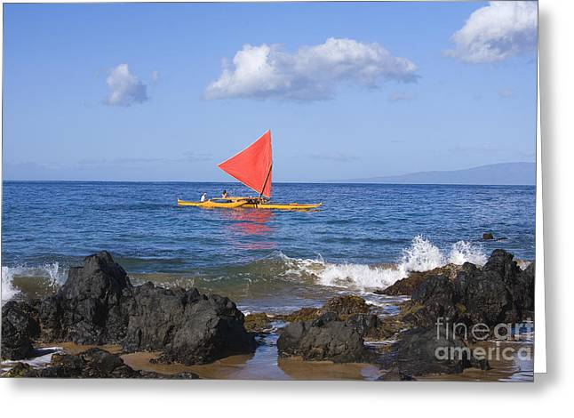 Maui Sailing Canoe Greeting Card by Ron Dahlquist - Printscapes