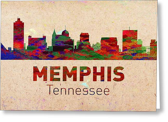 Seattle Skyline Greeting Cards Greeting Cards - Memphis Skyline - Usa City Greeting Card by Michael Vicin