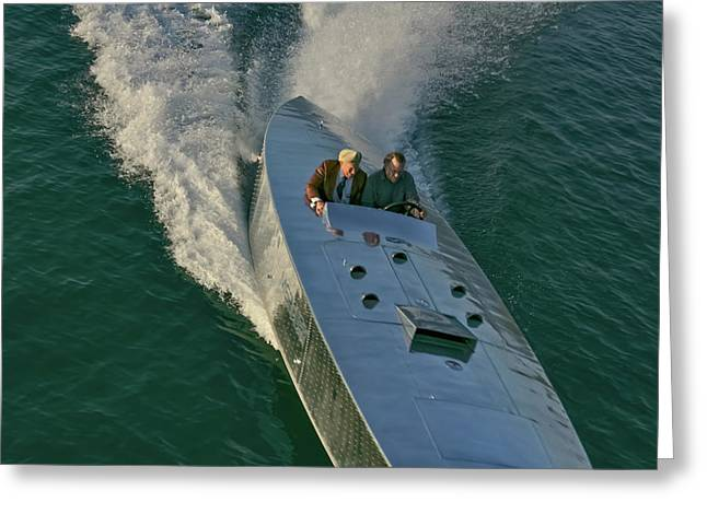 Runabout Greeting Cards - MERCURY Race Boat Greeting Card by Steven Lapkin