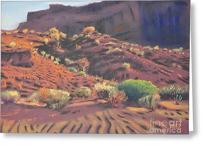 Park Pastels Greeting Cards - Mesa Shadows Greeting Card by Donald Maier