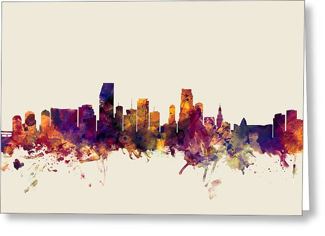 Miami Beach Greeting Cards - Miami Florida Skyline Greeting Card by Michael Tompsett