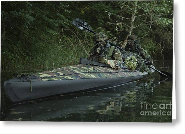 Jungle Warfare Greeting Cards - Navy Seals Navigate The Waters Greeting Card by Tom Weber