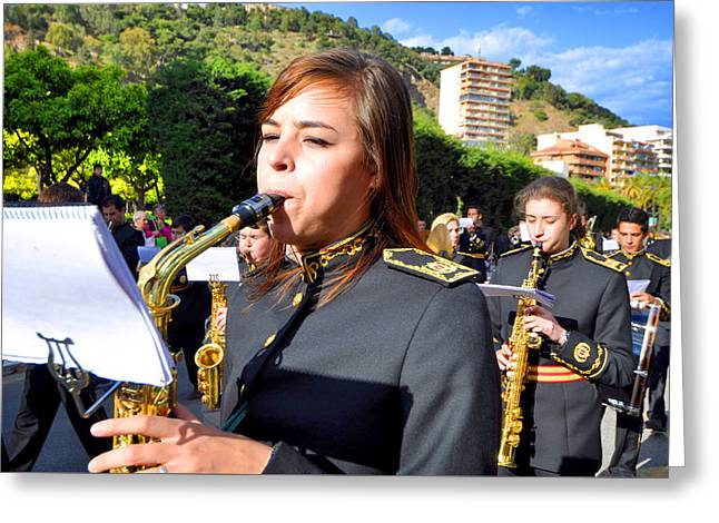 Holy Week Greeting Cards - Nazarenes and musicians from Easter Malaga Spain Greeting Card by Eduardo Huelin