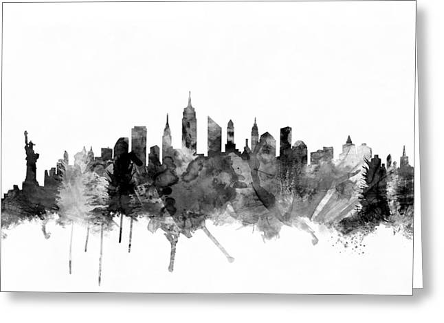New York City Greeting Cards - New York City Skyline Greeting Card by Michael Tompsett