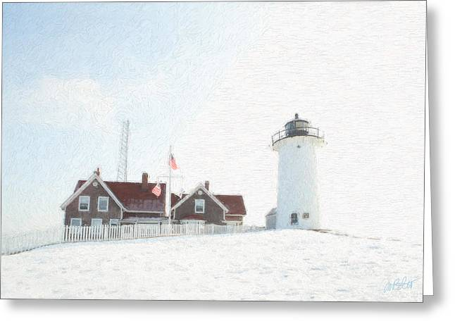 Nobska Light House Greeting Card by Michael Petrizzo