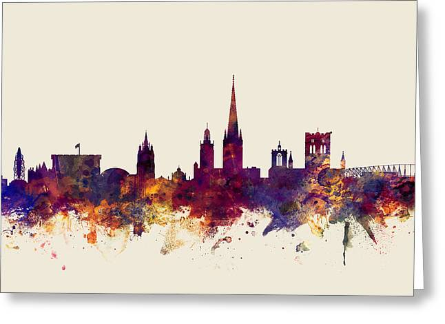 Norfolk Greeting Cards - Norwich England Skyline Greeting Card by Michael Tompsett