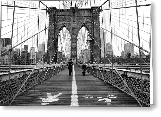 Street Photographs Greeting Cards - NYC Brooklyn Bridge Greeting Card by Nina Papiorek
