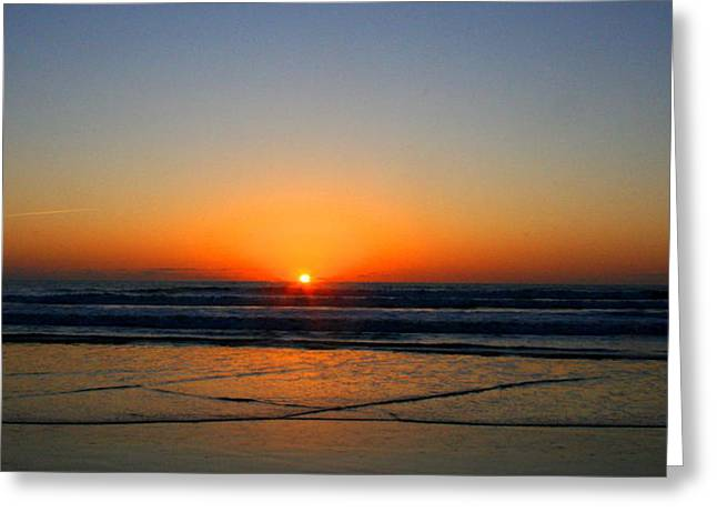 Surfing Art Mixed Media Greeting Cards - Ocean sunrise sunset Greeting Card by W Gilroy