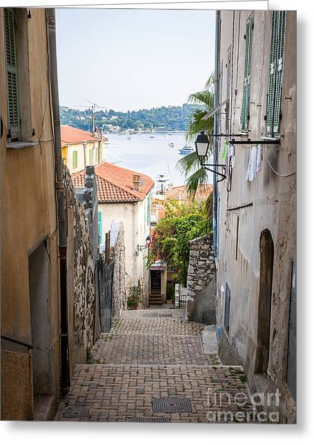 Southern Europe Greeting Cards - Old street in Villefranche-sur-Mer Greeting Card by Elena Elisseeva