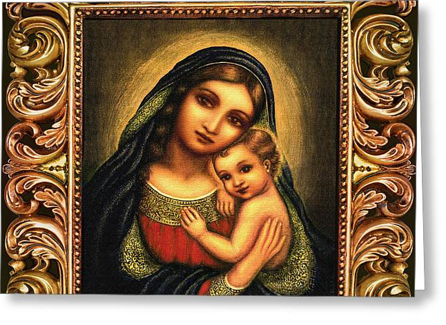 Oval Madonna Greeting Card by Ananda Vdovic