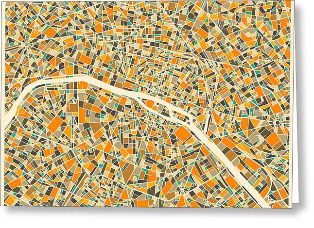 Paris Map Greeting Card by Jazzberry Blue