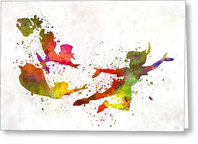 """peter Pan"" Greeting Cards - Peter Pan in watercolor Greeting Card by Pablo Romero"