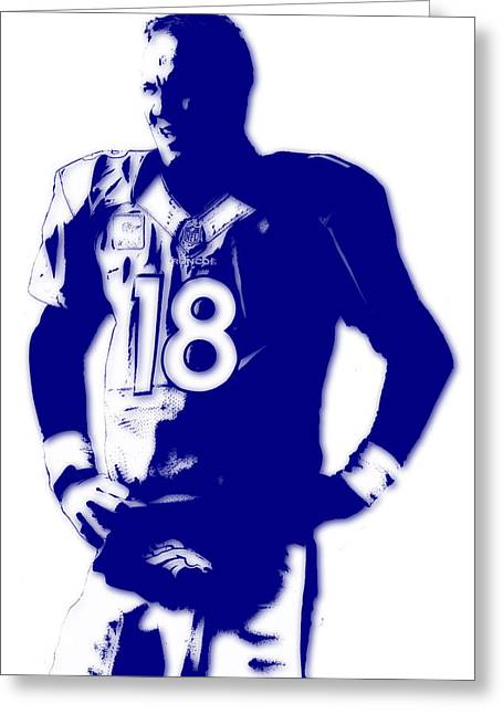 Broncos Greeting Cards - Peyton Manning Broncos Greeting Card by Joe Hamilton