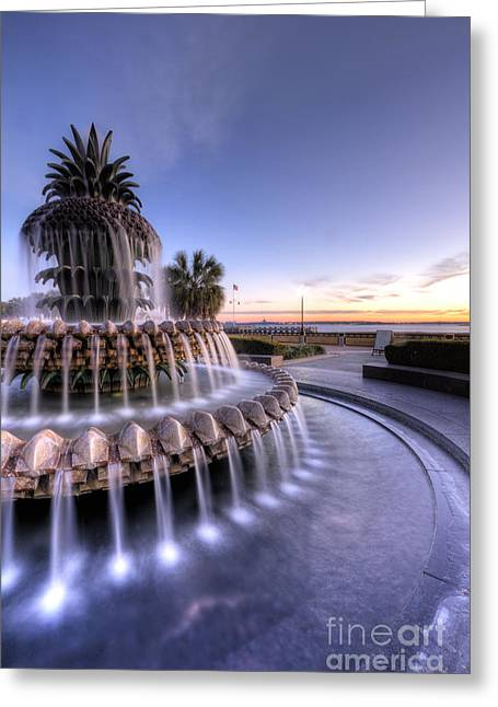 Waterfront Digital Greeting Cards - Pineapple Fountain Charleston SC Sunrise Greeting Card by Dustin K Ryan