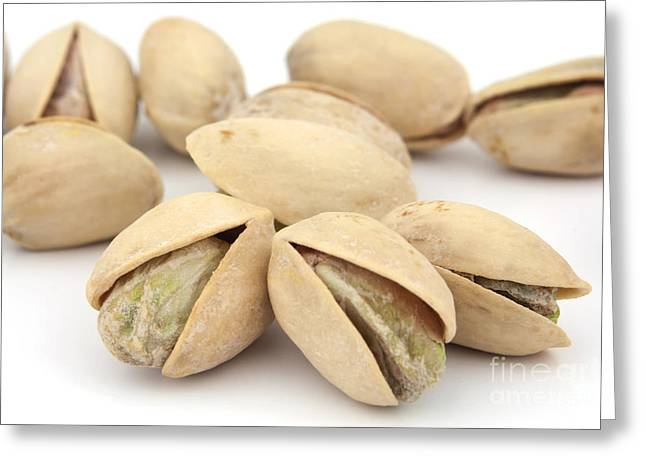 Isolated On White Greeting Cards - Pistachios Greeting Card by Blink Images