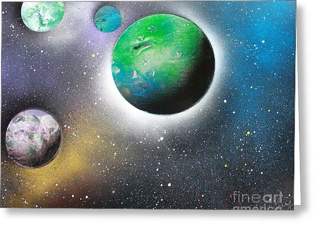Outer Space Paintings Greeting Cards - 4 Planets Greeting Card by Greg Moores