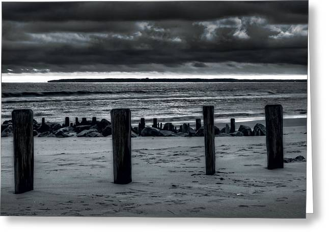 York Beach Greeting Cards - 4 Poles Greeting Card by Mike  Deutsch
