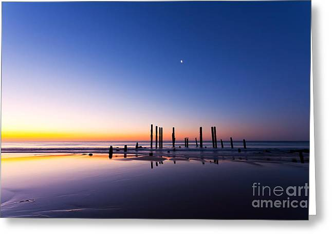 Sunset Seascape Greeting Cards - Port Willunga Jetty Ruins Sunset Greeting Card by Bill  Robinson