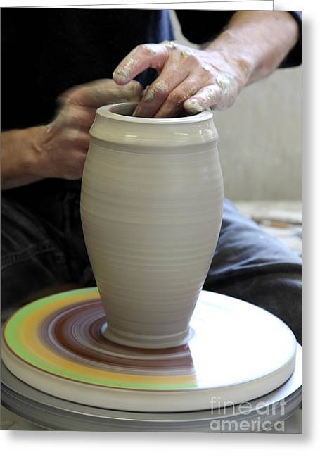 Hand Thrown Pottery Greeting Cards - Pottery Wheel, Sequence Greeting Card by Ted Kinsman