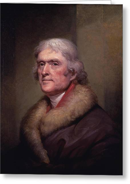 July 4th Paintings Greeting Cards - President Thomas Jefferson Greeting Card by War Is Hell Store