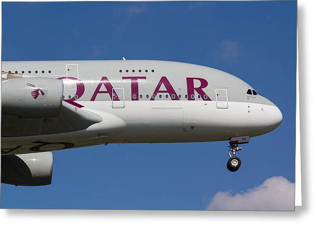 A380 Greeting Cards - Qatar Airlines Airbus A380 Greeting Card by David Pyatt