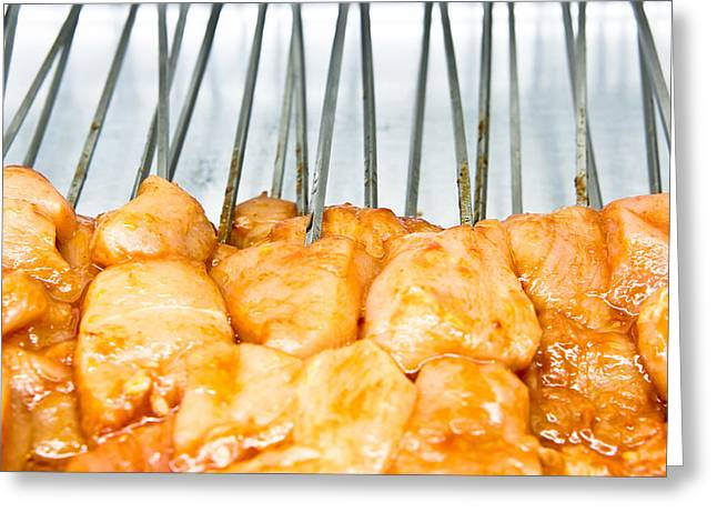 Barbeque Greeting Cards - Raw chicken Greeting Card by Tom Gowanlock