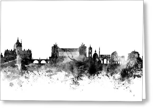 Roma Greeting Cards - Rome Italy Skyline Greeting Card by Michael Tompsett