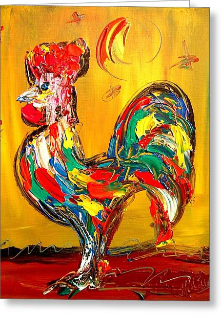 Town Mixed Media Greeting Cards - Rooster Greeting Card by Mark Kazav