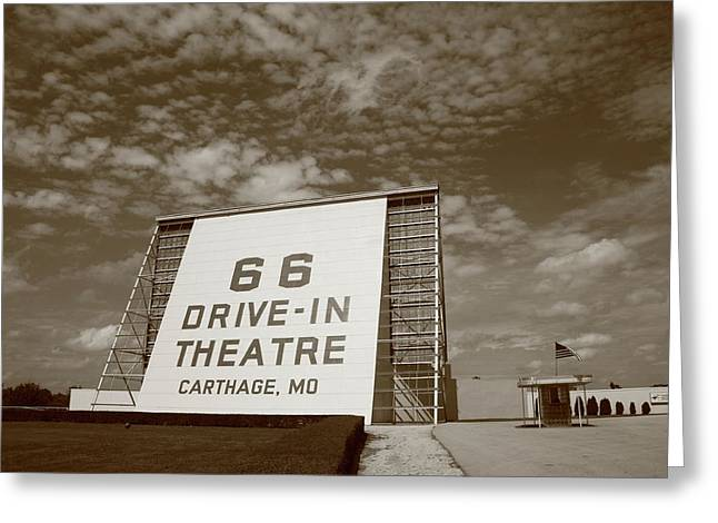 Recently Sold -  - Outdoor Theater Greeting Cards - Route 66 Drive-In Theatre Greeting Card by Frank Romeo